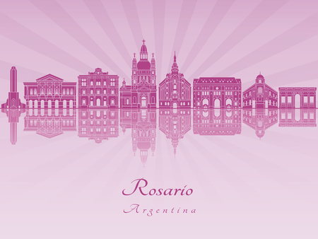 Rosario skyline in purple radiant orchid in editable vector file. Illustration