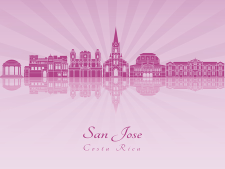 cr: San Jose CR skyline in purple radiant orchid in editable vector file. Illustration