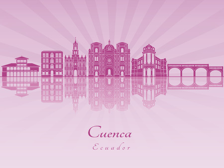Cuenca EC skyline in purple radiant orchid in editable vector file. 向量圖像