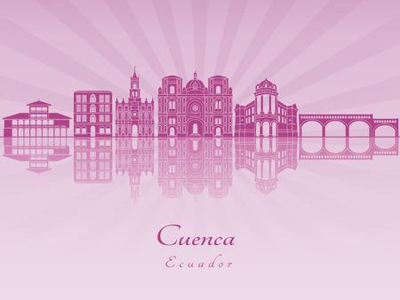 Cuenca EC skyline in purple radiant orchid in editable vector file. Illustration