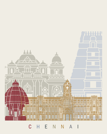 Chennai skyline poster in editable vector file. Illustration
