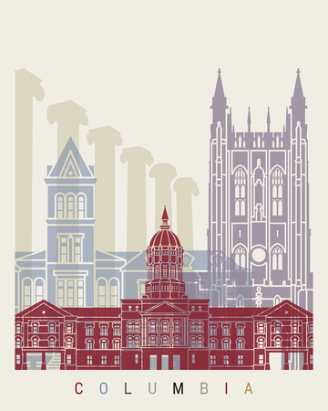 Columbia MO skyline poster in editable vector file