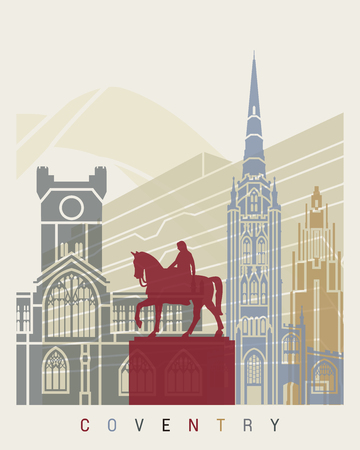 Coventry skyline poster in editable vector file