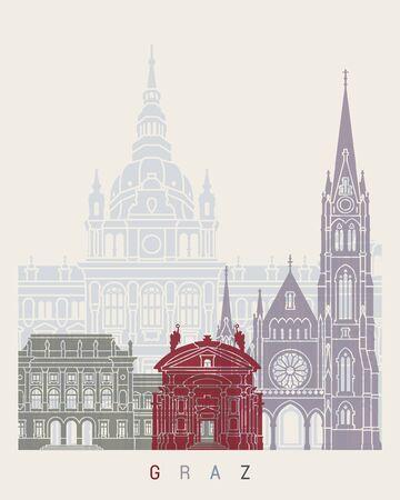 Graz skyline poster in editable vector file Illustration
