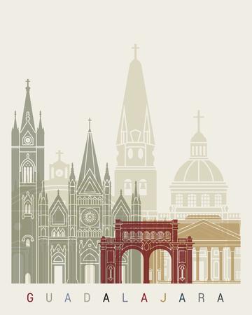 guadalajara: Guadalajara skyline poster in editable vector file