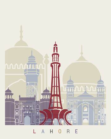 Lahore skyline poster in editable vector file.
