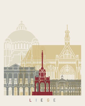 Liege skyline poster in editable vector file
