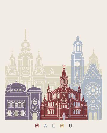 Malmo skyline poster in editable vector file Stock Photo
