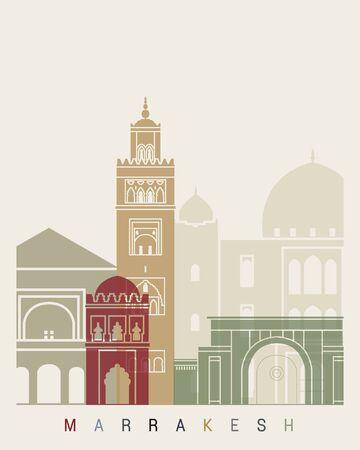 Marrakesh skyline poster in editable vector file Stock Photo