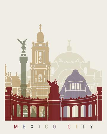 Mexico city skyline poster in editable vector file Banco de Imagens