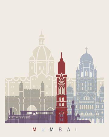 Mumbai skyline in editable vector file Stock Photo