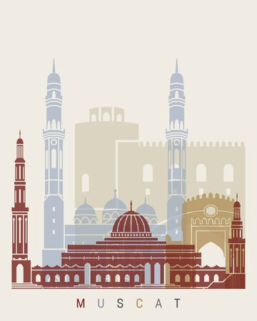 Muscat skyline poster in editable vector file Stock Photo