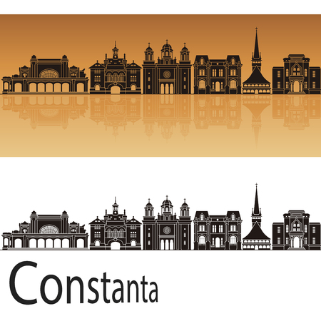 Constanta skyline in orange background in editable vector file Reklamní fotografie