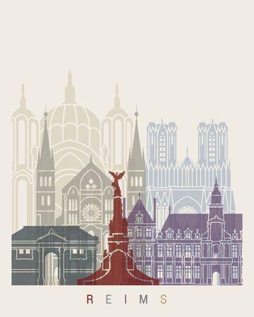 Reims skyline poster in editable vector file
