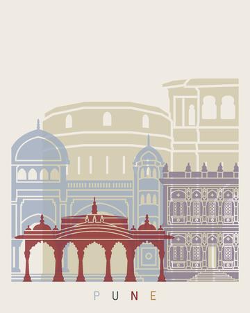 Pune skyline poster in editable vector file