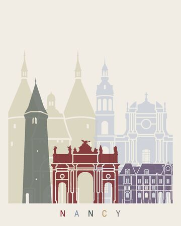 Nancy skyline poster in editable vector file