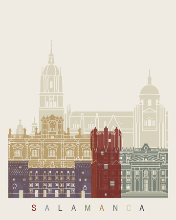 Salamanca skyline poster in editable vector file Stock Photo