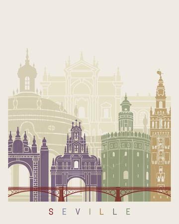 Seville V2 skyline poster in editable vector file