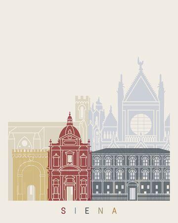Siena skyline poster in editable vector file