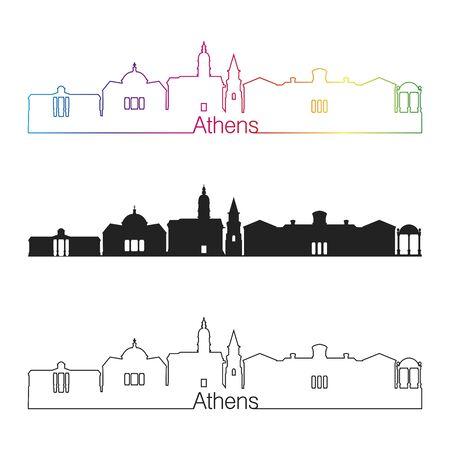 Athens GA skyline linear style with rainbow in editable vector file Zdjęcie Seryjne