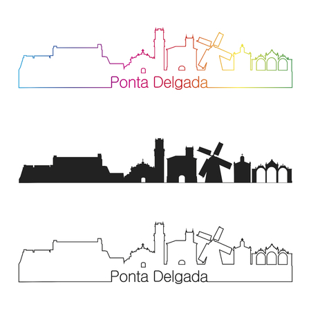 Ponta Delgada skyline linear style with rainbow in editable vector file Stock Photo
