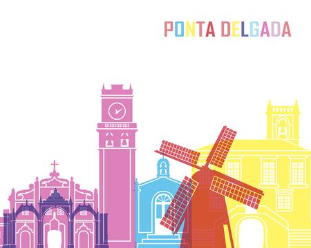 Ponta Delgada skyline pop in editable vector file