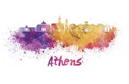 Athens GA skyline in watercolor splatters with clipping path