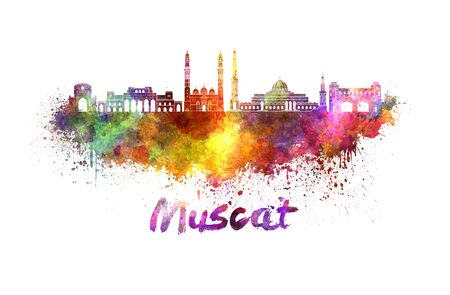 Muscat skyline in watercolor splatters with clipping path Stock Photo