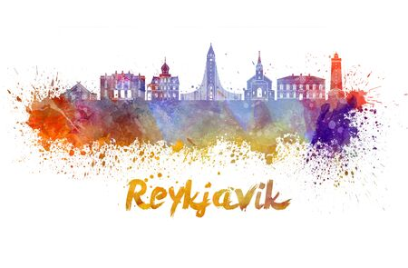 Reykjavik skyline in watercolor splatters with clipping path