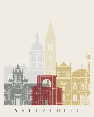 Valladolid skyline poster in editable vector file