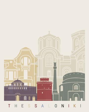 Thessaloniki skyline poster in editable vector file Stock Photo