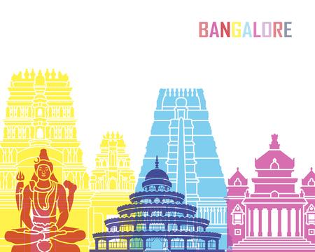 Bangalore skyline pop in editable vector file
