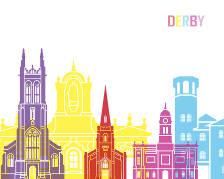 Derby skyline pop in editable vector file