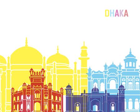 Dhaka skyline pop in editable vector file