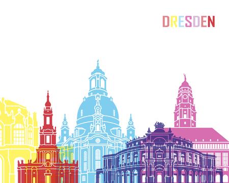 Dresden skyline pop in editable vector file