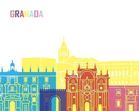 Granada skyline pop in editable vector file