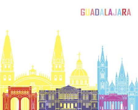 guadalajara: Guadalajara MX skyline pop in editable vector file Stock Photo