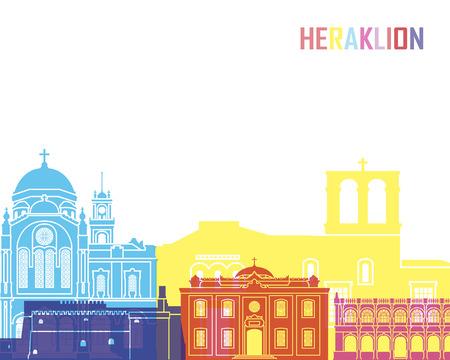 Heraklion skyline pop in editable vector file
