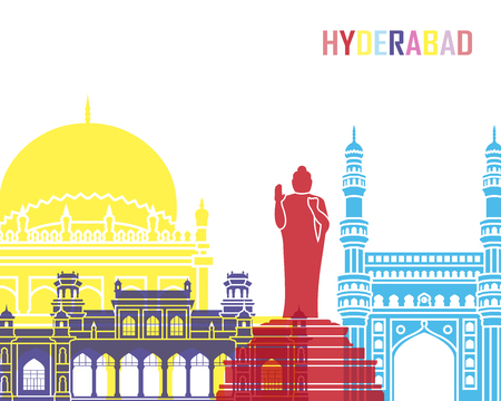 Hyderabad skyline pop in editable vector file Stock Photo