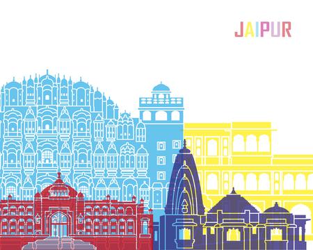 Jaipur skyline pop in editable vector file
