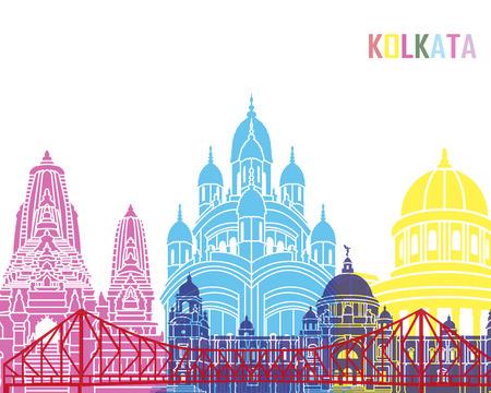 Kolkata skyline pop in editable vector file Stock Photo