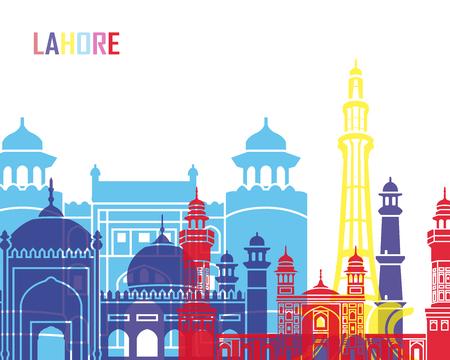 Lahore skyline pop in editable vector file