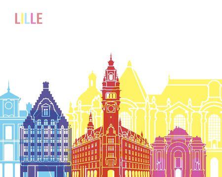 Lille skyline pop in editable file