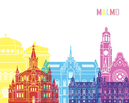Malmo skyline pop in editable vector file