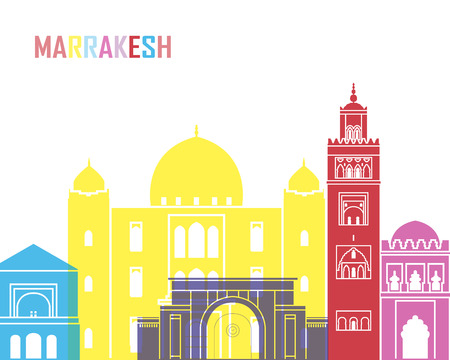 Marrakesh skyline pop in editable vector file