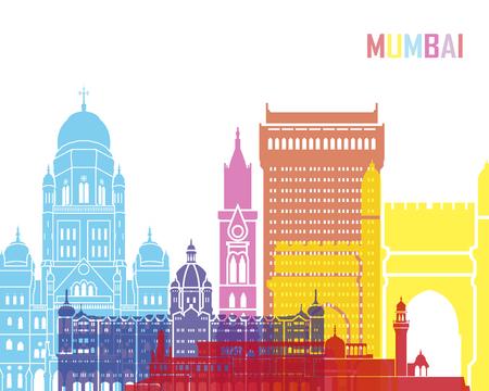 Mumbai skyline pop in editable vector file Stock Photo
