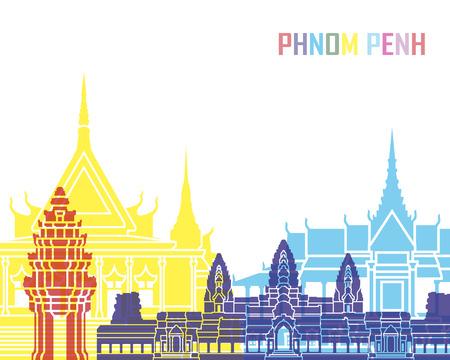 Phnom Penh skyline pop in bewerkbare vector-bestand Stockfoto
