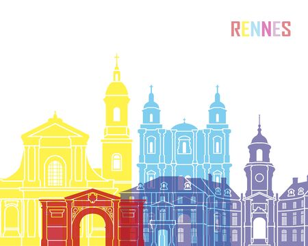 Reims skyline pop in editable vector file