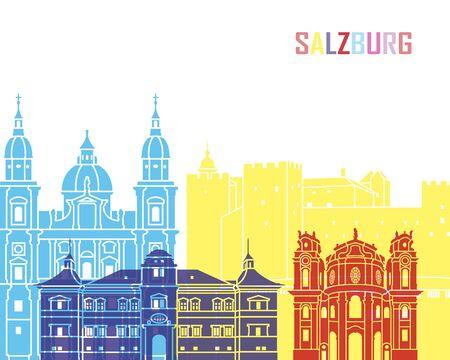 Salzburg skyline pop in editable vector file Stock Photo