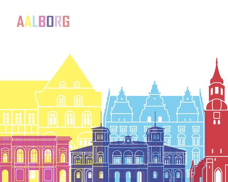 Aalborg skyline pop in editable vector file